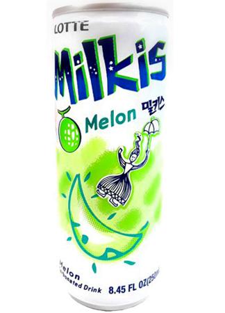 Milkis, mleczny napój gazowany o smaku melona z witaminami 250ml - LOTTE